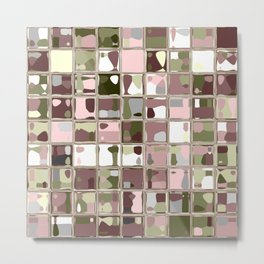 Pink Camo Mosaic Pattern Art Metal Print