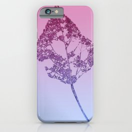 leaf sketch on a pink blue gradient background  iPhone Case