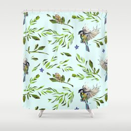 Geometric Nature with Birds Pattern (blue tit and goldcrest) Shower Curtain