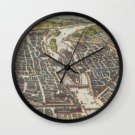 Vintage Map of Paris France (1655) Wall Clock