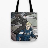 winter soldier Tote Bags featuring Winter Soldier by DeanDraws