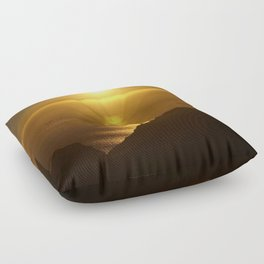 Sunset over the Canary Islands Floor Pillow