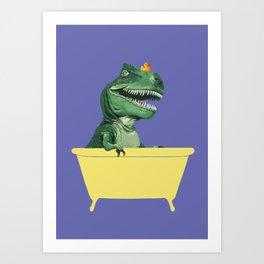Playful T-Rex in Bathtub in Purple Art Print