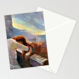 Lonely Redhead in Despair at the Beethoven Piano portrait painting by L. Balestrieri Stationery Cards