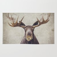 moose Area & Throw Rugs featuring Moose by Retro Love Photography