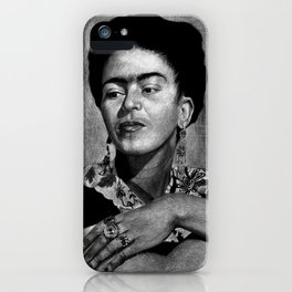 Frida Kahlo in Black and White iPhone Case