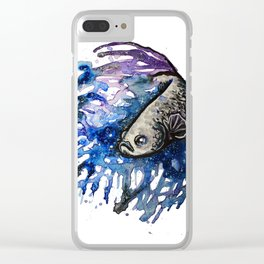 Galaxy Betta Fish Watercolor Clear iPhone Case