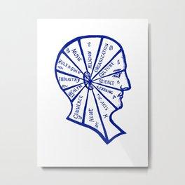 Vintage Phrenology Illustration in Blue Metal Print