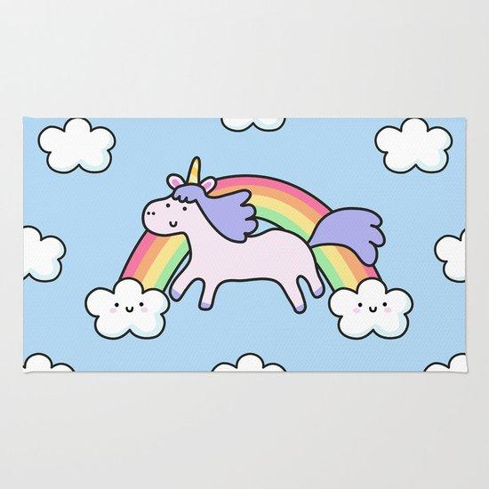 Unicorn with Rainbow Rug