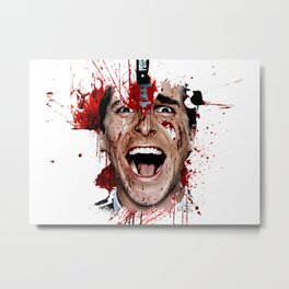 American Psycho Patrick Bateman serial killer digital artwork Metal Print