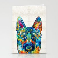 Stationery Cards featuring Colorful German Shepherd Dog Art By Sharon Cummings by Sharon Cummings