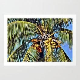 Painted Coconut Palm Art Print