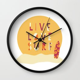 Live Love Surf Surfer girl slogan Wall Clock