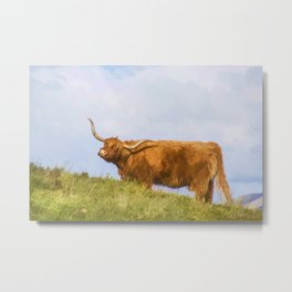 Highland Cow Watercolour Metal Print