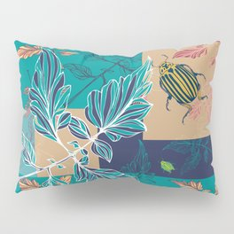 Tomatoes leaves and beetle -Mosaic Pantone palette Pillow Sham
