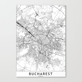 Bucharest White Map Canvas Print