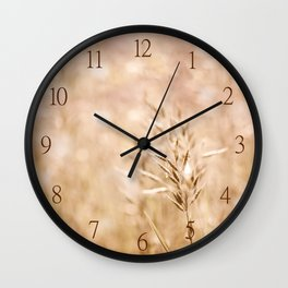 Sepia toned cereal grass inflorescence Wall Clock
