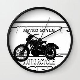Motorcycle retro legend tshirt logo Wall Clock