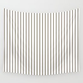Mulch Brown Pinstripe on White Wall Tapestry