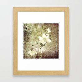 Magnolia Blossoms Textured Framed Art Print