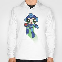 mega man Hoodies featuring Mega Puff Man by Unihorse