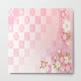 sakura flower floral pink star plaid wave chevron Metal Print
