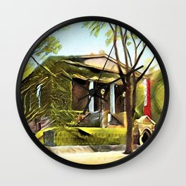 Providence Athenæum Library Benefit Street Landscape Painting by Jeanpaul Ferro Wall Clock