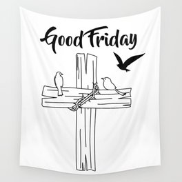 Cross With Bird Wall Tapestry
