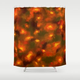 Glowing Ember Floral Abstract Shower Curtain