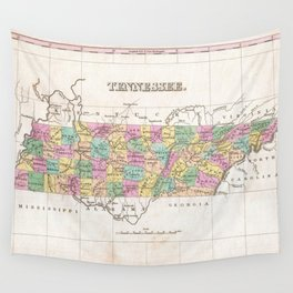 Vintage Map of Tennessee (1827) Wall Tapestry