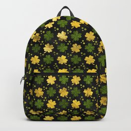 Irish Shamrock Four-leaf clover  Gold black Backpack