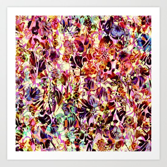 joyful abstract floral Art Print