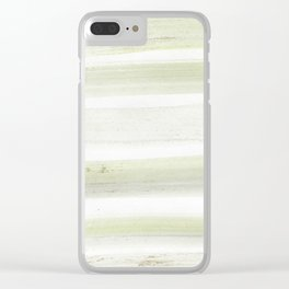 Modern mint green white watercolor brushstrokes stripes Clear iPhone Case