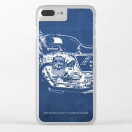 Motorcycle blueprint,2010, Moto V7, Clubman racer,poster,man cave decoration,vintage art,blue poster Clear iPhone Case