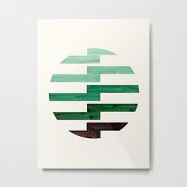 Minimalist Mid Century Circle Frame Teal Aquamarine Deep Green Zig Zag Colorful Lightning Bolt Geome Metal Print
