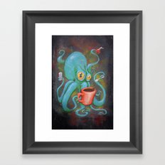 Michelle's Coffee Drinking Octopus Framed Art Print