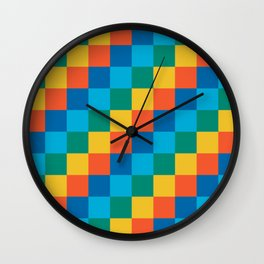 Color me happy - Pixelated Pattern in bright colors Wall Clock
