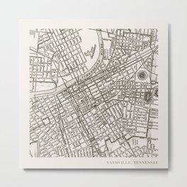 Nashville Map Metal Print
