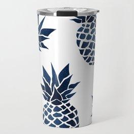 Pineapple Blue Denim Travel Mug