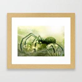 Spider green Framed Art Print