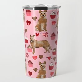 Australian Cattle Dog red heeler valentines day cupcakes hearts love dog breed gifts Travel Mug