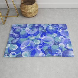 Groovy Blue Bubbles Retro Pattern Rug