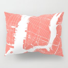 Living Coral New York City NYC Map II Pillow Sham