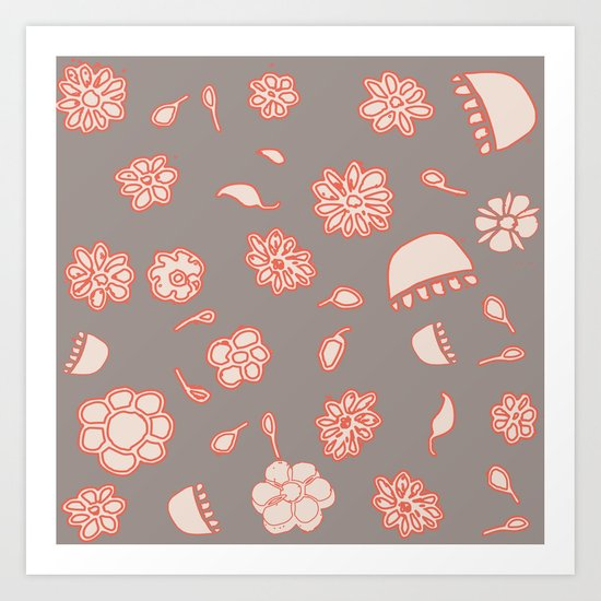 floral black and red Art Print