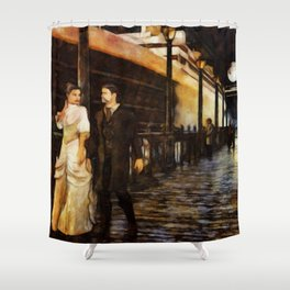 ON THE PIER Vintage Boat Jetty Edwardian Couple Shower Curtain