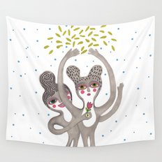 cute creatures feel the love Wall Tapestry