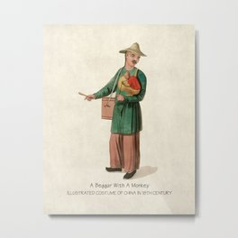 Illustrated Costume of Ancient China Painting Chinoiserie Art Metal Print