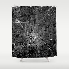 Indianapolis Black Map Shower Curtain