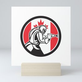 Sandblaster Abrasive Blasting Canada Flag Circle Mini Art Print