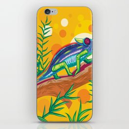 Close-Up Of A Beautiful Chameleon In The Green Forest Background iPhone Skin